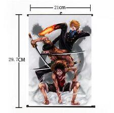 Hot Japan Anime One Piece Luffy Zoro Sanji Home Decor Poster Wall Scroll 21*30CM