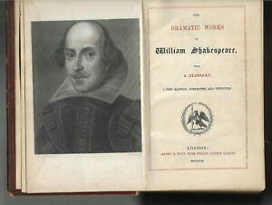 The Dramatic Works of William Shakespeare incl Glossary leather binding vgc 1858