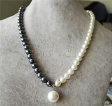 "Fashion 10mm Natural Black &White South Sea Shell Pearl Pendant Necklace 18"" AAA"
