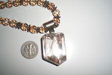 "Swaroski Bead Rutilated Quart Pendant Necklace / Sterling Silver 17"""