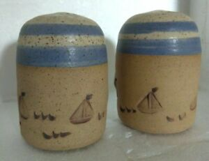 Hand Crafted Sailboats Blue Brown Speckled Salt & Pepper Shakers Signed AP   #12