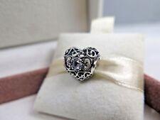 New w/Box Pandora March Signature Heart Charm #791784NAB Aqua Blue Crystals