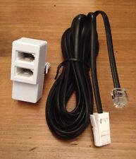 2 Metre Telephone To Phone Socket Replacement Cable, FREE DOUBLE ADAPTER!