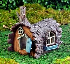 Miniature Fairy Garden Log Home DOOR OPENS Gnome Hobbit House Cottage GO 16433