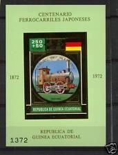 Equatorial Guinea 1972 Japanese Railway GOLD MNH S/S #2