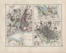 1909 VICTORIAN MAP ~ NEW YORK TOWN PLAN ENVIRONS WASHINGTON NICARAGUA CANAL