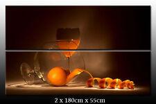 DEKOART BILDER WANDBILD Weingläser Orangen LEINWAND BILD XXL 180cm x 110cm