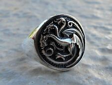 Solid Sterling Silver 925 House Targaryen Game of Thrones 3D Ring ALL SIZE