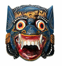 Wooden monkey mask of Barong, BLUE color, hand-carved in Bali, wall mask, new