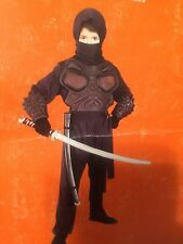 Complete Black Ninja Halloween Costume childs size Medium 6/8