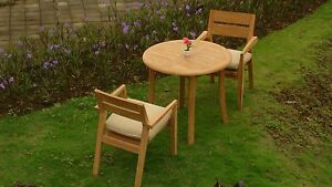 """Vellore A-Grade Teak Wood 3 pc Dining 36"""" Round Table Arm Stacking Chair Set New"""