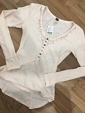 NWT FREE PEOPLE ANTHROPOLOGIE Lace Cropped LS Button Shirt Knit Festival Top XS