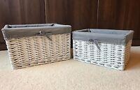 Set 2x White Grey Wicker Baskets Storage Hamper Bathroom Lined Bedroom