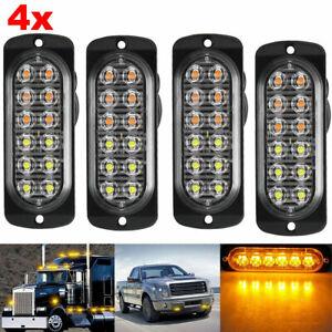 4 X12 LED Amber Truck Car Emergency Beacon Warning Hazard Flash Strobe Light