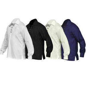 3 Colour Scothish  Jacobite  Ghillie Kilt Shirt Leather Cord Sizes S - - 5XL