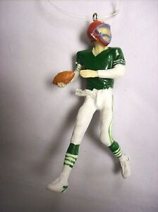"""""""Football Player with Green Shirt Holding a Football"""" Ornament"""