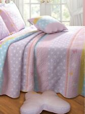 Quilted Butterfly Stripe Twin Bedding With 3 Pc Accessories