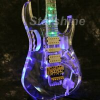 Electric Guitar Colorful LED Light Gold Hardware Floyd Rose Bridge Flower Inlay
