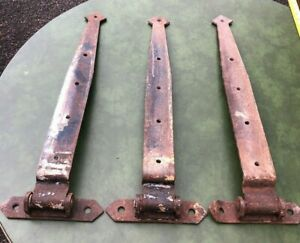 """Antique Set of 3 Matching Cast Iron Barn Door Strap Hinges 25"""" Length 2 3/4 Wide"""