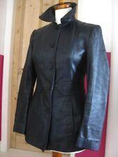 Ladies M&S black leather JACKET BLAZER UK 18 16 petite short tooled tailored