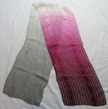 "OMBRE Striped Scarf, Gray/Pink/Burgundy Red, 57"" Long Scarf,Silky with Chiffon"