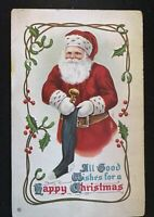 Santa Claus with Stocking~Holly~ Antique Embossed~Christmas Postcard--s431