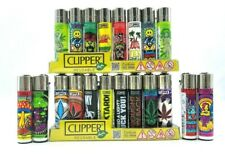 16 Pieces Big Size Clipper Flint Lighters Assorted Color Design Made in Spain