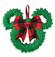 Disney Minnie Mouse Plaid Bow Holiday Christmas Door Hangar Wreath