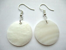 MOTHER OF PEARL NATURAL SHELL ROUND DANGLE EARRINGS 25MM