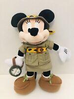 "Authentic Disney Parks Minnie Mouse Safari W/ Compass 14"" Doll Plush-FREESHIP!"