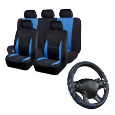 Universal Car Seat Covers Set & Blue Car Steering Wheel Cover Leather Anti-slip