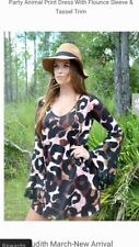 NWOT Judith March Size Small Party Animal Print Dress Leopard With Tassles