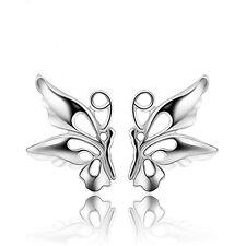 Women Butterfly Lady Elegant Crystal 925 Sterling Silver Ear Stud Earrings