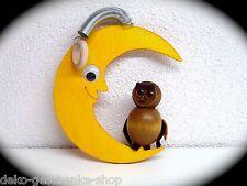 Holz Deko Figur Mond mit Eule zum hängen 14 cm Schwingfigur Traumfänger 70038