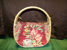 Vintage Woven Floral Basket Handbag Purse