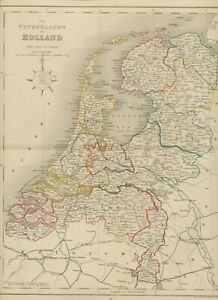 MAP 1850 HOLLAND 35 cm x 27,5 cm - wonderful rare almost 175 years old engraved