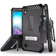 For LG X Power Tri Shield Rugged Case Clip Free Tempered Glass Protector Black