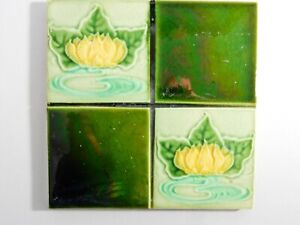 Antique Tile Washstand Fireplace Wash Stand Art Nouveau Green Lily Pad Quarter