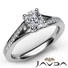 Splendid Cushion Diamond Engagement Pave Set Ring GIA F VS1 18k White Gold 0.9Ct