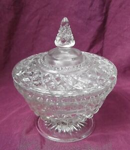 Vintage AH Wexford Glass Footed Candy Dish Compote w/ lid