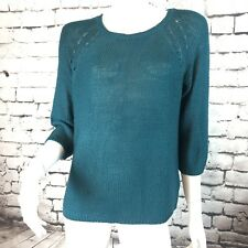NWT H&M Basic Sz M  Knit Top Sweater  Green Teal Sheer Casual Crew Neck Solid