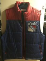 New York Rangers Puffer Vest Vintage Style  NHL Hockey Custom Nylon Mens XL