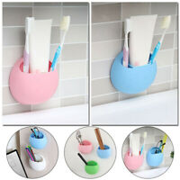 Toothbrush Holder Wall Mount Suction Cup Bathroom Toothpaste Storage Rack UK