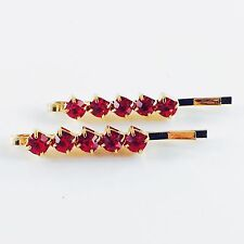 Bobby Pin Rhinestone Crystal Hair Clip Hairpin Elegant Simple Short Red 1.49""