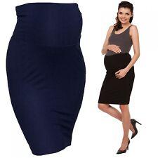 Zeta Ville - Women's Maternity midi length pencil skirt stretch waistband - 066c