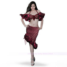 Sexy Belly Dance Costume Latin Flamenco Lace Top Bra&Skirt 34B 36B 38B 4 colors