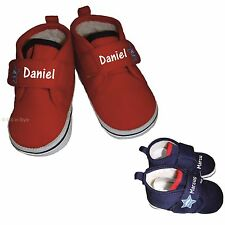 PERSONALISED BABY STAR FUR LINED SHOES 0-12 RED NAVY BOY GIRL BOOTIES ANY  NAME a47d7fc35
