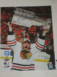 DUNCAN KEITH (Chicago Blackhawks) Signed 2010 STANLEY CUP 16x20 PHOTO w/ PSA COA