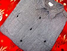 Vintage 40's BIG MAC Sanforized Chambray Work Shirt Black Salt & Pepper XL