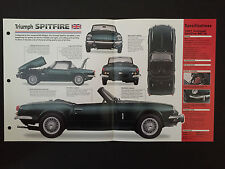 1967 TRIUMPH SPITFIRE MK III IMP Hot Cars Spec Sheet Folder Brochure RARE